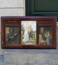 Rare antique triptych oil. The three stages of life. 1880s. Signed.  Must see!