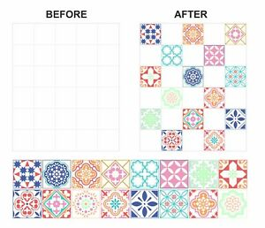 """Mosaic Tile Stickers Transfers For 100mm x 100mm & 4"""" 4 inch  Kitchen Tiles GT27"""