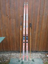"""New listing Ready to Use Cross Country 73"""" Fischer 190 cm Snow Skis Salomon Binding + Poles"""