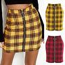 Plaid Ring Zip Straight Pencil Bodycon Bandage Short Mini Skirt High Waist