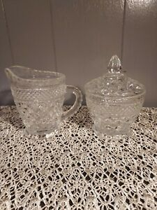 Vintage Wexford by Anchor Hocking  Glass Cream and Sugar Set With Lid