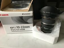 Canon EF-S 10-22mm f/3.5-4.5 USM Wide Angle DSLR camera Lens + hood. near new