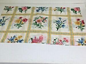 "Vtg Springs King Size Floral Pillow Sham Blue Pink Yellow Green 50% Blend 40x25"""