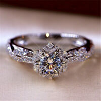 Fashion Gorgeous 925 Silver Rings Women Wedding White Sapphire Crystal Jewelry