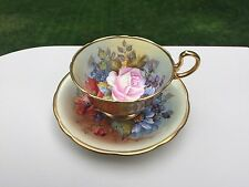Vintage Aynsley Tea Cup Saucer Yellow Pink Roses Signed England Bone China