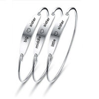 Fashion Silver Big Middle Little Sister Sis Family Bracelet Cuff Bangle Jewlery