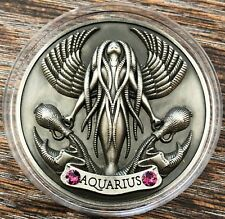 My Zodiac Coin, AQUARIUS - Swarovski® Crystals, 3D, Glow-In-Dark, Antique Silver