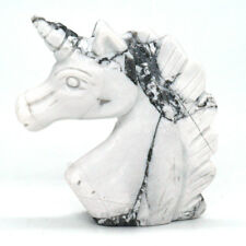 White Howlite Turquoise Unicorn Figurine Natural Gemstone Healing Crystal Statue