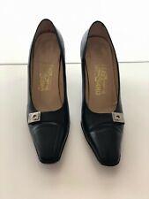 Salvatore Ferragamo women's shoes, Black Leather, Size 8 1/2M narrow