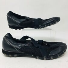 Skechers Womens Cross Strap Mary Jane Water Shoes Black Mesh Slip Ons 8.5