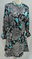 Dennis Basso button up Fit-and-Flare Dress multi color mini 3/4 sleeve SZ M NEW