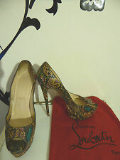 CHRISTIAN LOUBOUTIN LADY PEEP PYTHON BATIK U38.5 UK5.5 US8.5 PUMPS SHOES HEELS