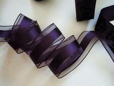 5yd Eggplant Deep Purple Wired Ribbon Sheer Satin Gifts Wedding Aisle Pew Bow