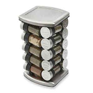 Olde Thompson 20 Jar Embossed Revolving Spice Rack SPICES INCLUDED, Kitchen Jars