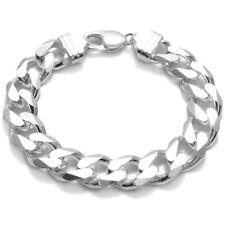 925 Sterling Silver Men's Solid Cuban Curb Link Chain Bracelet 13mm (350 Gauge)