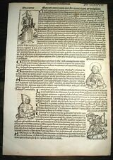 1493 INCUNABLE Ancient NUREMBERG CHRONICLE Leaf HISTORY Kings OTTOMAN EMPIRE