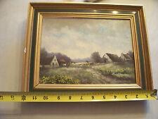 Vintage farm scene oil painting signed framed.
