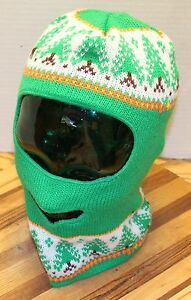 YOUTH WINTER SKI ROBBERS STYLE MASK GREEN TREE DESIGN IN VERY GOOD CONDITION