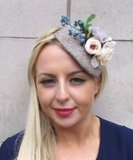 Beige Cream Harris Tweed Rose Flower Fascinator Hair Headband Races Floral 4215
