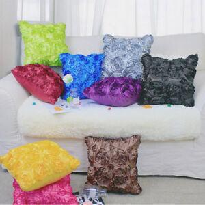"Elegant 3D Raised Ribbon Roses Faux Silk Cushion Cover Throw Pillow Case 16.5"""