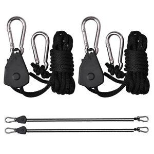 2Pcs Adjustable Heavy Duty LED Grow Light Rope Ratchet Hydroponics Yoyo Hanger