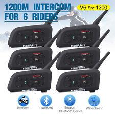 6 x 1200m BT Interphone Bluetooth Moto Helmet Intercom headsets V6 for 6 Riders