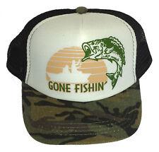 Kid's Gone Fishing Camo Camouflage  Snapback Mesh Trucker Hat Cap Toddler