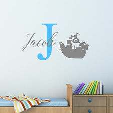 Personalised Pirate Ship Wall Sticker Decal Children Boys Nursery Bedroom