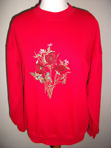 LADIES SWEATSHIRT,JUMPER,TOP WITH AN EMBROIDERED POP[PY / BUTTERFLY DESIGN RED
