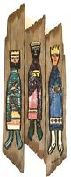 MCM Tribal 3 Kings Folk Art Hand Carved Wooden 3D Wall Art Hanging Decor Roslind
