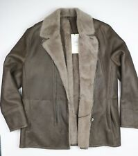 New MARINI Shearling Leather Coat Men's Size 56 Made in Italy Sheepskin Brown
