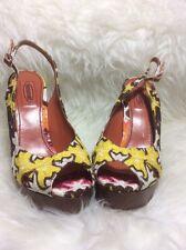 NWT $625 Missoni Italian Pink Fabric High Heeled peep Toe Platform Heels Sz 39