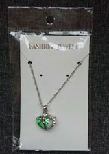 Green Crystal Chain Rhinestone Gift Love Heart Green Pendant Necklace Charms