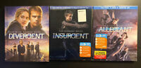 The Divergent Series Lot 1 2 3 Trilogy Allegiant Insurgent Blu-ray Only (No DVD)