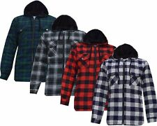 New Mens Padded Hooded Quilted Thick Lumberjack Check Work Shirt Jacket  M - 3XL