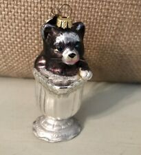 "Christmas Tuxedo Kitty Cat Glass Blown Ornament Sitting in Creamer 3"""