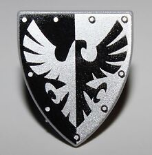 Lego Castle Minifig Shield Triangular with Black and Silver Falcon Pattern NEW