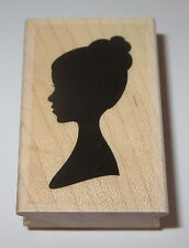 Girl Silhouette Rubber Stamp New Woman Bun in Hair Lady Wood Mounted Hero Arts