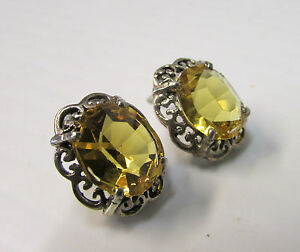 Antique Pair of Silver Filigree with Citrine Stones Earrings