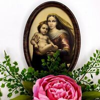 Vintage Blessed Virgin Mary Madonna Child Art Oval Picture Catholic Religious