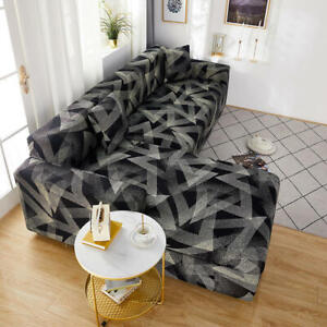 Floral Black 1-Seater Sofa Sofa Covers Set Couch Corner Sofa Stretch  Slipcover