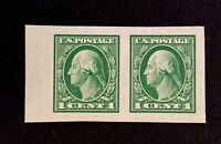 US Stamp, Scott #408 imperf pair XF/Superb M/NH. Gorgeous specimen. PO fresh.