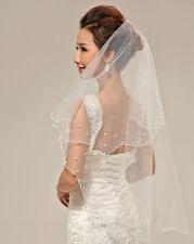 Wedding Bridal Bachelorette Party Communion Pearl Beaded White 1T Veil No Comb