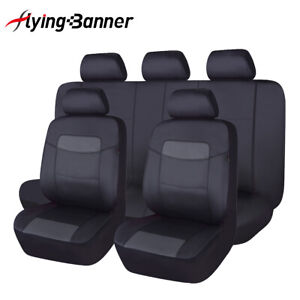 Car Seat Covers Leather Full Set Waterproof Universal Black Grey SUV Rear Split