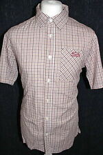 WEIRD FISH - Mens Brown Striped Short Sleeved Shirt Size Medium
