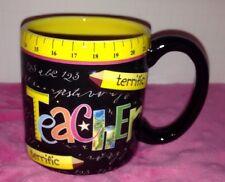 Burton + burton terrific teacher Coffee Mug Chalkboard Pencil Ruler Tea Cup Gift