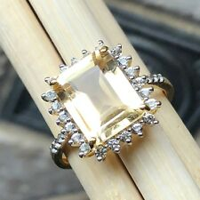 Natural 3.25ct Golden Citrine, White Topaz 14k Gold Over Solid Silver Ring sz 6