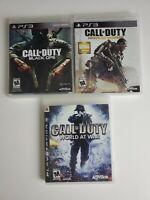 Lot of 3 Call of Duty: Advanced Warfare, Black Ops, World at War  ( PS3)