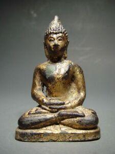 ANTIQUE BRONZE SEATED LANNA BUDDHA. EXCAVATED 16th CENTURY PHAYAO STUPA RELIC.