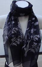 Wunderschöner leichter Schal dunkelblau mit weissen Blumen neu